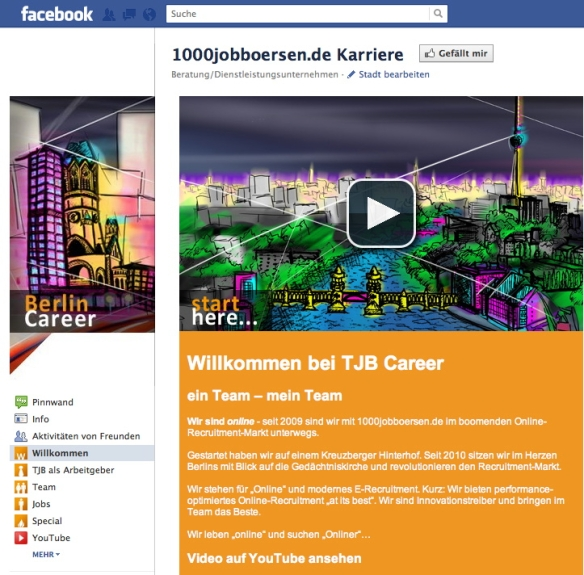 1000jobbörsen facebook karriere seite