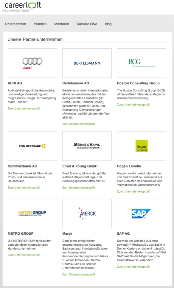 Partnerunternehmen careerloft